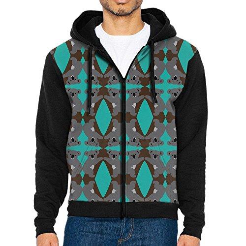 Black Panther Half Mask (HenSLK Men's The Koala Chain Casual Pocket Sweatshirt Full-Zip Hoodie Crew Hooded Shirts Athletic Sportwear)