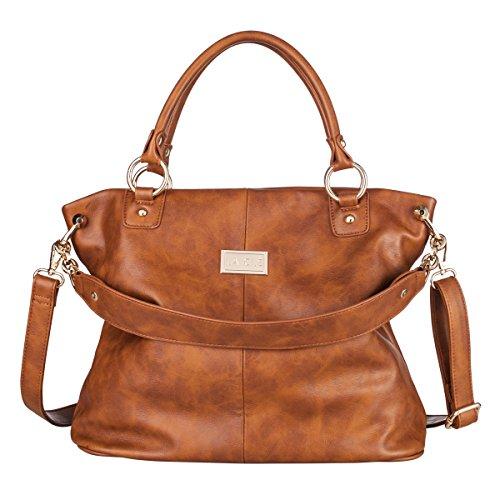 Lacle LA-053 Women Top-handle Grainy Shoulder Handbag Crossbody Purse Satchel(Light (Grainy Leather)