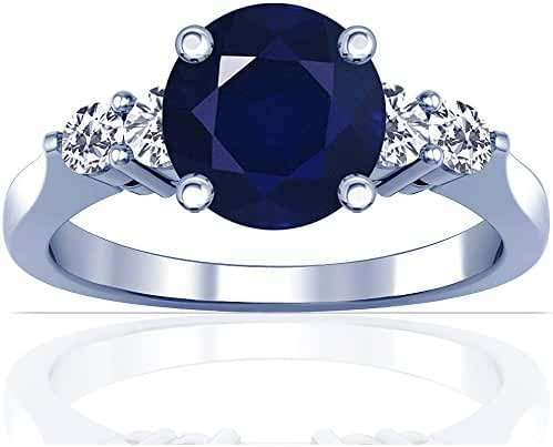 Platinum Round Cut Blue Sapphire Ring With Sidestones