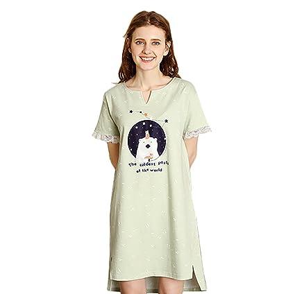 Falda del sueño del cordón algodón puro del algodón muchacha dulce de los pijamas vestido del