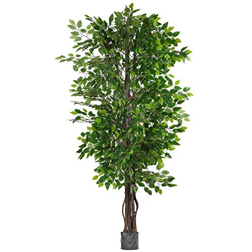 Woooow 6.5-Feet Ficus Silk Tree,Artificial Tree Ficus Tree with Green Leaves and Natural Trunk, Beautiful Fake Plant for Living Room Balcony Corner Decor,Indoor-Outdoor Use (Best Indoor Trees For Home)