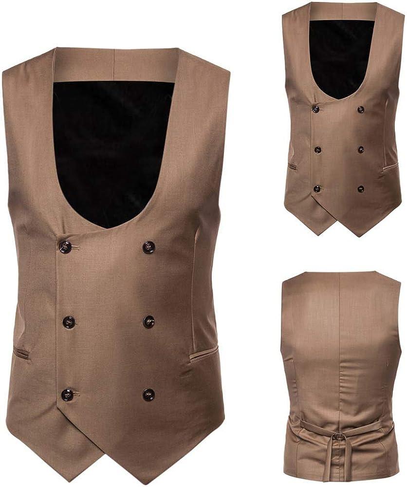 Goldatila Mens Waistcoats Slim Fit Economy Dressy Suit Vest Waistcoat Bar Workwear Mens Sleeveless Jacket Top XXXXL
