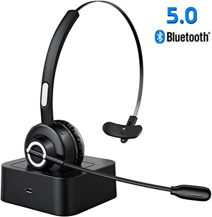 Amazon Com Bluetooth Headset Trucker Bluetooth Headset V5 0 Handsfree Wireless Phone Headset With Charging Station Noise Cancelling Bluetooth Headset With Microphone Suitable For Call Center Office Phone Home Audio Theater