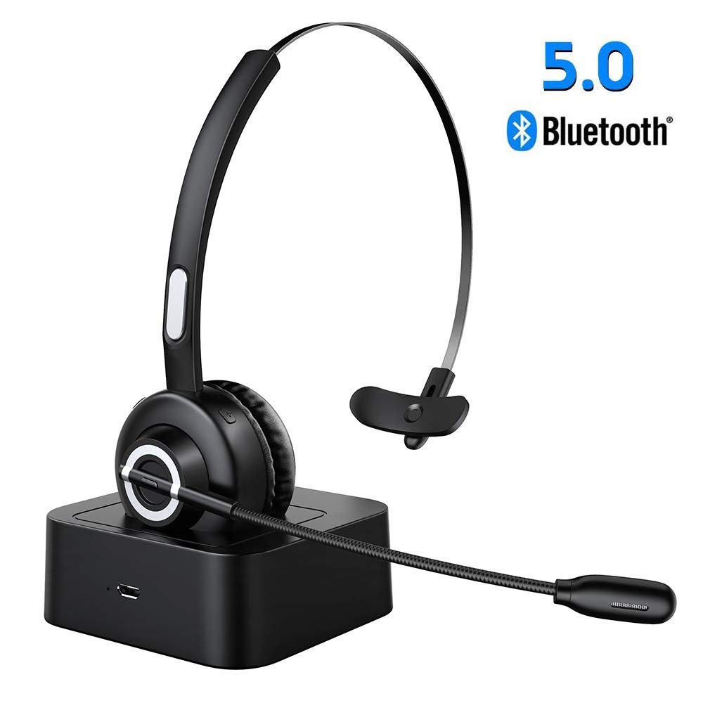 Office Zeonetak V5.0 Bluetooth Headset with Microphone iPhone Handsfree Trucker Bluetooth Headset Noice Cancelling Wireless Headset with Charging Station Phone Headset Suitable for Call Center