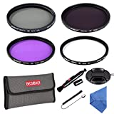 Beschoi 77mm UV Protection Lens Filter UV + CPL + FLD + ND4 Lens Filter Kit with Center Pinch Lens Cap + Cap Keeper + Cleaning Pen + Filter Pouch Bag + Cleaning Cloth
