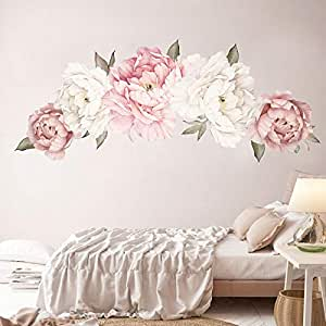 Holly LifePro Peony Flowers Wall Decals Peel and Stick Rose Wall Sticker for Home Bedroom Nursery Room Wall Decor Style-Two