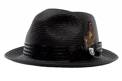 Stacy Adams Men's Striped Satin Band Fedora, Black, X-Large (Fedora Striped Mens)