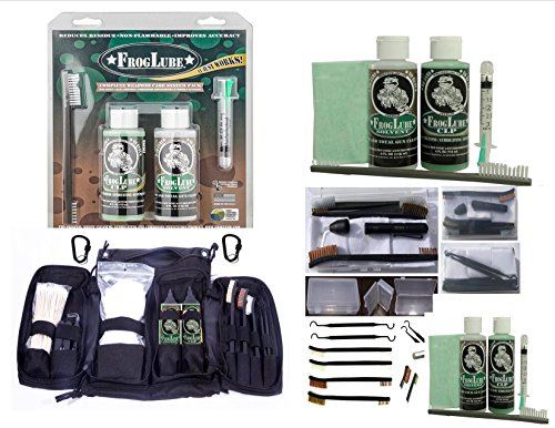 VAS Black Ops Bio - Based Frog Lube & Cleaning Essentials Set | Frog Lube 15234 Clamshell Pack System Kit | Solvent | CLP | Bore Light | Utility Bag & Box Set | 3 Brushes | 2 Picks | 2 Sizes Patches | Frog Shell