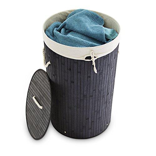 Relaxdays Wäschekorb Bambus rund Ø 41 cm, 65 cm hoch cm faltbare Wäschetruhe mit einem Volumen von 80 Litern mit Wäschesack aus Baumwolle zum Herausnehmen für Ecken und Nischen im Badezimmer, schwarz