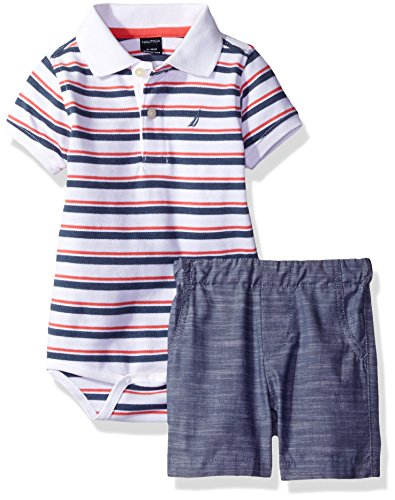 nautica-baby-boys-striped-polo-shirt-with-chambray-pull-on-short-set-guava-6-9-months
