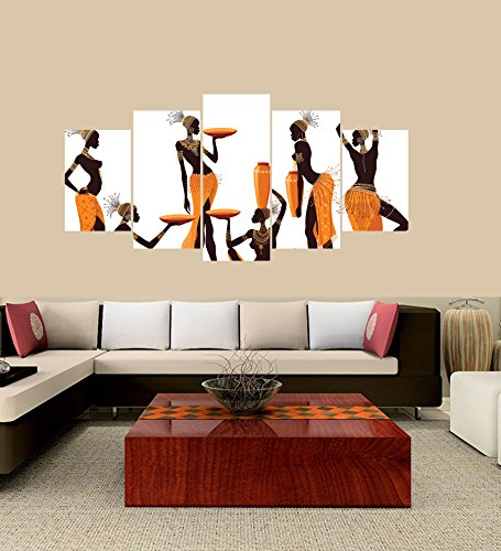 [LARGE] Premium Quality Canvas Printed Wall Art Poster 5 Pieces/5 Pannel Wall Decor Isolated African Women Painting, Home Decor Pictures - With Wooden Frame
