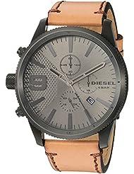 Diesel Mens Rasp Chrono 50 Black IP and Brown Leather Watch DZ4468