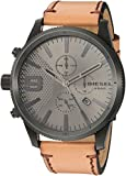 Diesel Men's Rasp Chrono 50 Black IP and Brown Leather Watch DZ4468