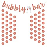 us gold bar - Jovitec Rose Gold Glitter Banner Bubbly Party Bar Bunting and Rose Gold Paper Circle Dots Garland for the Girl's Room, Bridal Shower, Engagement, Wedding Party Supplies