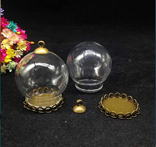 Glass Bottl - 3pcs 30 20mm Transparent Glass Globe Double Lace Base Beads Cap Vial Pendant Wishing Bottle Dome - Terrarium Vase Bottle Transparent Bottles Jars Boxes Glass Dome Display Ball P