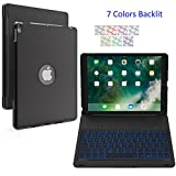 SZILBZ New iPad Pro 10.5 Keyboard Case.LED 7 Color Backlit.Ultra Silm Hard Shell Aluminum Alloy Folio Stand Cover for iPad pro 10.5 Inch(model(A1701/A1709) (Black)