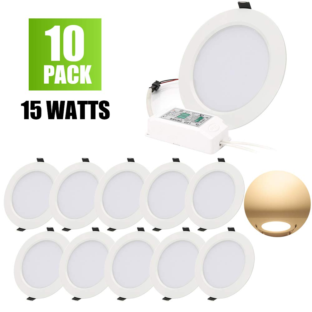 LED Panel Light Lamp Dimmable, 15W Round Ultra-Thin Recessed Ceiling Light, 1200lm, Warm White 3000K, Cut Hole 120mm, Downlight with LED Driver for Home Office Commercial Lighting AC85-265V - 10PACK