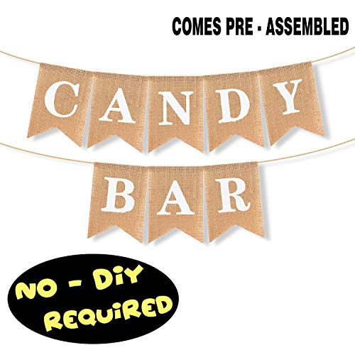 (Candy Bar Burlap Banner Hanging Sweets Treats Sugar Cake Baby Shower Birthday Wedding Party Pennant Decorations Supplies - NO DIY REQUIRED)