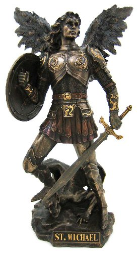 Archangel Saint Michael Statue Real Bronze Powder Cast Sculpture 12 ½-inch