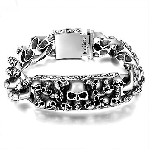 925 Silver Thai Bracelet - MetJakt Men's Punk Skull Bracelet & Hand-embossed Skeleton Solid 925 Sterling Silver Bracelet for Male Biker Vintage Thai Silver 21.5CM