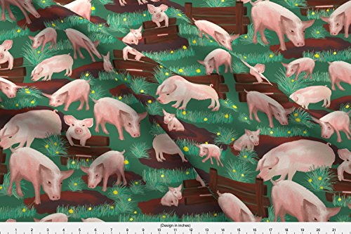 Pigs Fabric - Pigs on Green by kociara - Pigs Fabric with Spoonflower - Printed on Fleece Fabric by the Yard