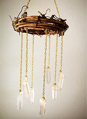 Gift Sized Handcrafted Mini Natural Crystal Quartz Chandelier - Bohemian Tree Ornament or Gift