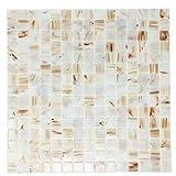 White Pearl Copper Blend Iridescent Glass Backsplash Mesh-Mounted 3/4 x 3/4'' Mosaic Tiles for Kitchen BacksplashBathroom (10 Sheets)