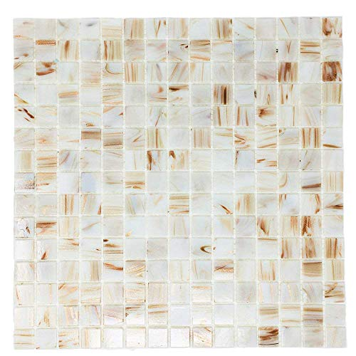 White Pearl Copper Blend Iridescent Glass Backsplash Mesh-Mounted 3/4 x 3/4