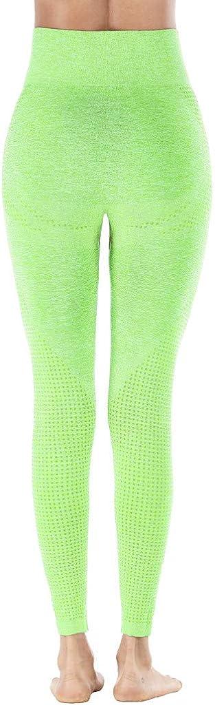 WOZOW Pantalon Femme Legging De Sport Fitness Longue Taille Haute pour Yoga avec des Poches Hanche Point sans Couture Vitesse Secs Remise en Forme