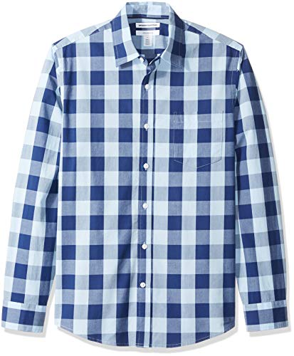 Amazon Essentials Men's Slim-Fit Long-Sleeve Check Shirt, Blue Buffalo, Large