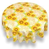 Sweet Home Collection Premium Quality Flannel Back Tablecloth Oblong Rectangle Square Heavy Restaurant Vinyl Spill Repellent Table Cover, 60'' Round, Sunflower