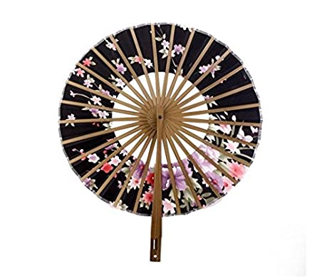 Op.h Round Windmill Fan Japanese Folding Fan Ladies Fan Handkerchief Flower Surface Bamboo