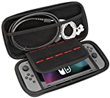 PECHAM Travel Carrying Case for Nintendo Switch with 10 Built-in Game Card Holders - Joy-con & Game Console Accessories Protective Storage Bag (Gray)
