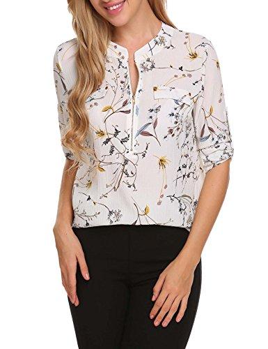 Chiffon Floral (ANGVNS Women Long Sleeve Round Neck Floral Chiffon Shirt, White 2, S)