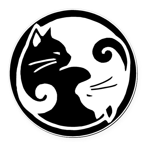 CafePress - Yin Yang Cats - Round Car Magnet, Magnetic Bumper Sticker