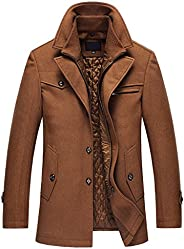 OCHENTA Men's Casual Single Breasted and Zipper Woolen Over