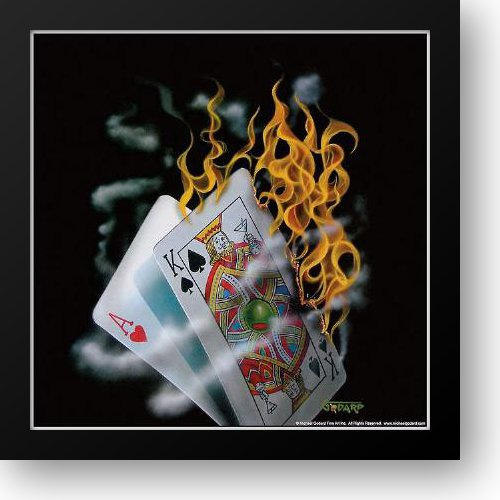 - Burning Blackjack 16x16 Framed Art Print by Godard, Michael