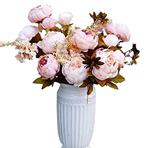 HATABO Artificial Flowers Real Touch Artificial Silk Heads Flower Silk Peony Flower Artificial Flowers 13 Heads European Peony Fake Wedding Bride Bouquet Indoor Home Party Decoration Real Touch 5