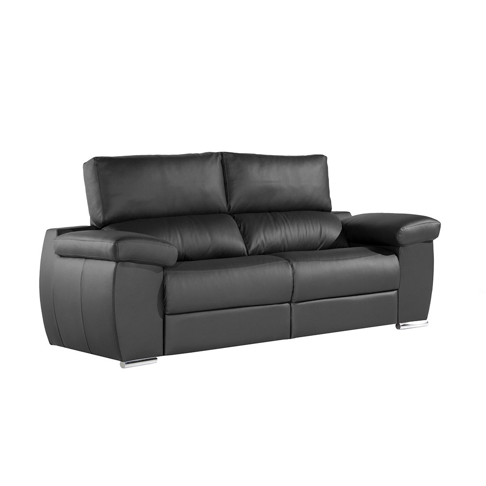 Zendo Sofas Mambo sofá de 3 plazas Fijo, Piel, Negro, 208 x ...
