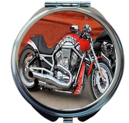 Rikki KnightTM Retro Harley Davidson Motorcycle Design Design Round Compact Mirror