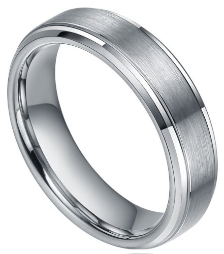 6mm Tungsten Carbide Ring Brushed Centre Plated White Silver Engagement Wedding Bands (10)