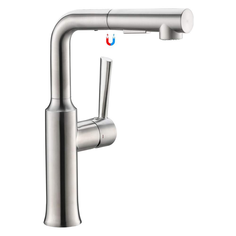 Sp/ültischarmatur mit einziehbarem Sprayer Schwenkauslauf in geb/ürstetem Nickel Wasserhahn k/üche,CREA K/üchenarmatur mit Ausziehbrause