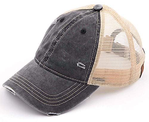 H-6140-912-06 Distressed Trucker Hat - Washed Black/Beige Mesh