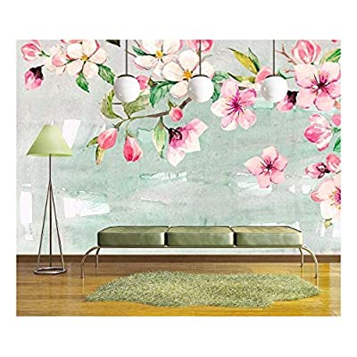 Dazzling Object of Art, With a Professional Touch, Large Wall Mural Watercolor Style Ink Painting Pink Cherry Blossom on Abstract Background Vinyl Wallpaper Removable Wall Decor