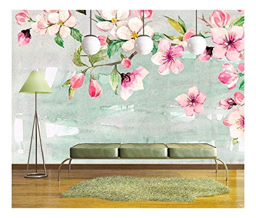 Large Wall Mural Watercolor Style Ink Painting Pink Cherry Blossom on Abstract Background Vinyl Wallpaper Removable Wall Decor