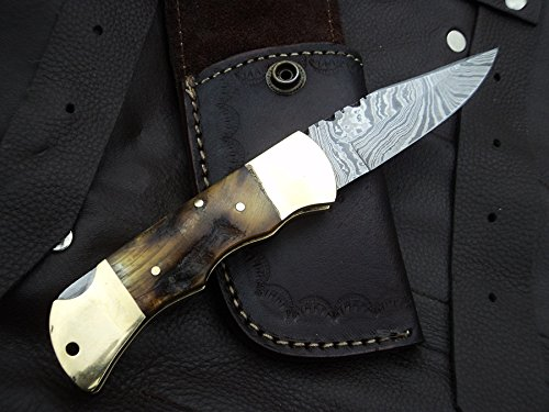 Bone Black Knife (DKC Knives (13 5/18) SALE DKC-728 GOLDEN STAG Rustic Stag Horn Damascus Steel Folding Pocket Knife Black-White Bone 6oz 7