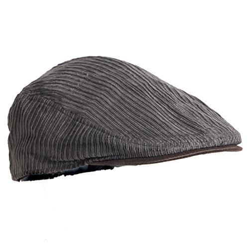 02b954854e7 Gray XL Cotton Corduroy Retro Newsboy Cap w  Vegan Leather Brim