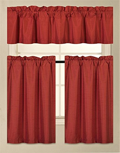 Fancy Collection 3 Pieces Faux Silk Blackout Kitchen Curtain Set Tier Curtains and Valance Set Red Color Window Set Thermal Backing Drapes Assorted Colors New (Red Curtains Kitchen)