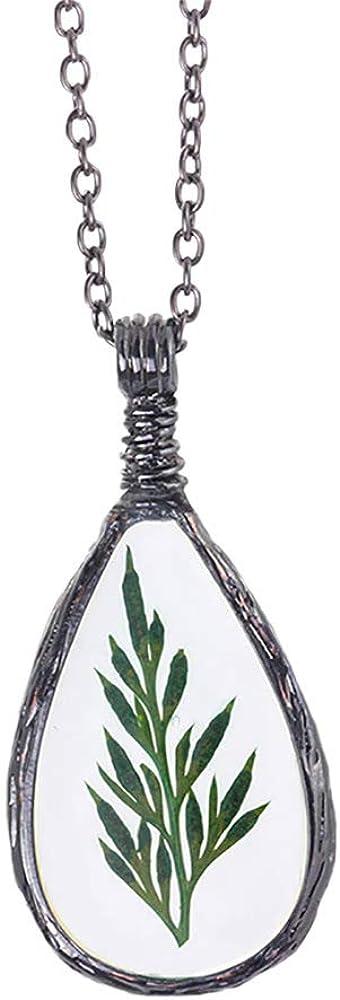 MSTOT Collar Colgante De Ámbar De Planta Verde De Simulación Natural, Collar De Flores Secas Hecho A Mano Creativo