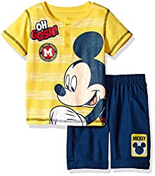 Disney Toddler Boys' 2 Piece Mickey Mouse Polo Top and Twill Short Set, Yellow, 2t